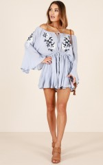 Waterfalls playsuit in blue embroidery