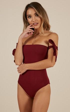 American Dream Bodysuit in wine