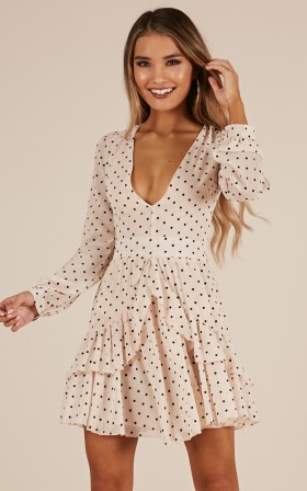 Smell The Air dress in beige polkadot