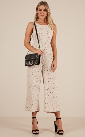 Long And Silent jumpsuit in Beige Polkadot
