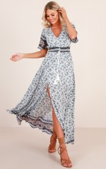 Together At Heart maxi dress in blue print