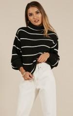 Close To You knit sweater in black stripe