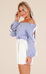Changing Times top in blue stripe