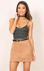 Lights Beam skirt in tan suedette