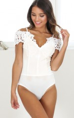 Pretty Little Thing bodysuit in white lace