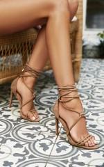 Showpo x Billini - Kalahari Heels in stone micro