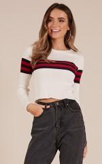 Fight The Feeling knit sweater in white stripe