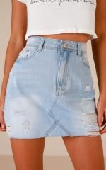 Let You Down denim skirt in light wash