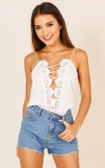 Live For The Weekends top in white