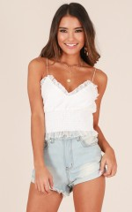 Love Bubble crop top in white lace