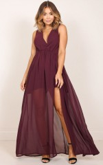 Melt Your Heart maxi dress in wine
