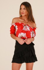 More To Life top in red floral