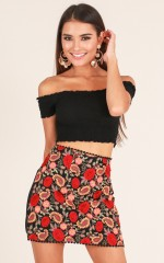 Never Stop skirt in black embroidery