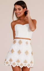 Out All Night skirt in white and gold