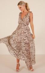 Pretty Hurts maxi dress in beige print