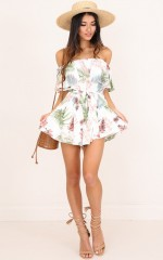 Rumoured Nights playsuit in white print