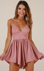 Sitting Waiting Wishing playsuit in dusty rose