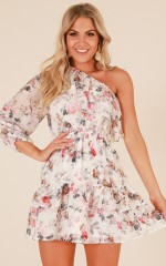 By The Fire dress in white floral
