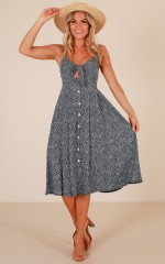Life Goes On dress in navy floral