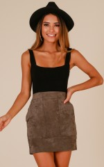Fine With Me skirt in grey suedette
