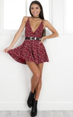 Down For The Night playsuit in wine floral