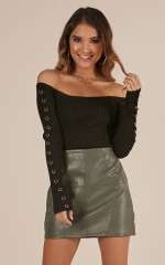 Make It Move Skirt In khaki leatherette