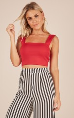 Strong Heart crop top in red