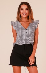 Just The Beginning top in black gingham