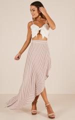 Higher Power maxi skirt in tan stripe