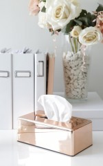 Bless You tissue box case in rose gold