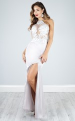 Cold as Ice maxi dress in silver lace