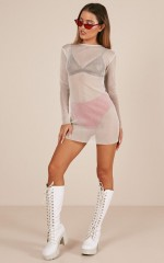 Come Back For Me dress in silver mesh
