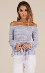 Float My Boat top in blue stripe