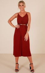 After Hours Jumpsuit in Wine
