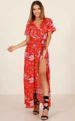 Too Good At Goodbyes dress in red floral