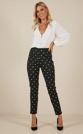 Wall Street pants in black polkadot