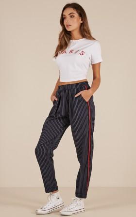 Back In Time pants in navy stripe