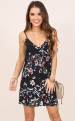 Dont Need You dress in black floral