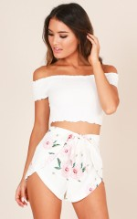 Tone It Down Shorts in white floral