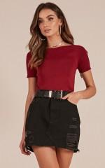 Let You Down denim skirt in black