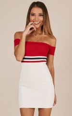 Built This City dress in red stripe