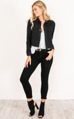 Learn To Love denim jacket in black