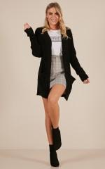 Back On Track velvet knit cardigan in black