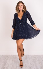 Between You And I dress in navy polka dot