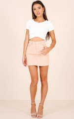Cinnamon Girl denim skirt in blush