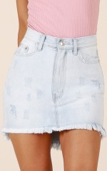 Clear Your Heart denim skirt in light wash