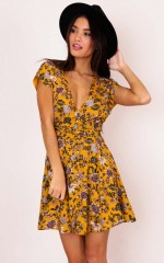 Deep Wide Ocean dress in mustard floral