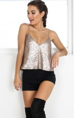 Electric Skies Cami in Champagne Sequin