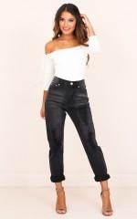 Emma Mum Jeans in Black Denim