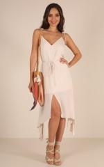 Get Past It midi dress in beige